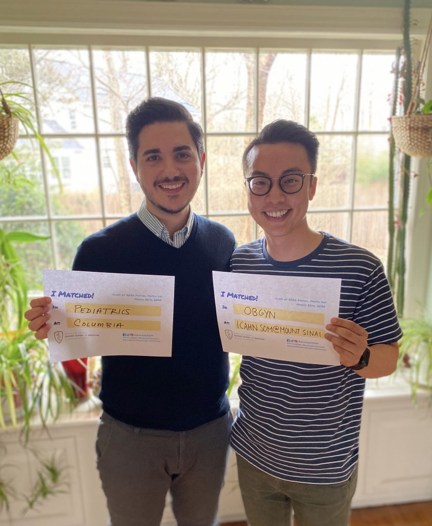 Matt Theoharakis (L) matched to New York Presbyterian and Alex Qin (R) matched to the Ichan School of Medicine at Mount Sinai through NRMP's Couples Match system.